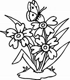 Ausmalbild Schmetterling Blume Flowers Butterfly Coloring Page Wecoloringpage