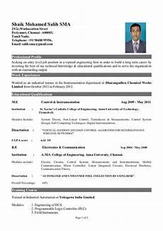 fresher of instrumentation engineer resume format for freshers engineering resume