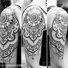 mandala dotwork shoulder arm black and