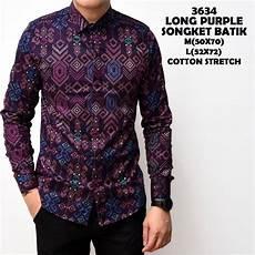 jual kemeja batik songket pria panjang kantor kerja slimfit baju cowok murah di lapak