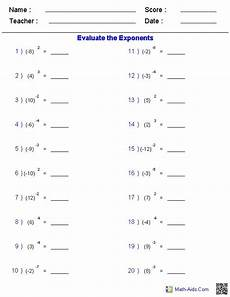 maths worksheets for high school exponents