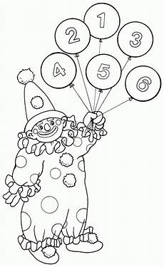 printable coloring page of circus clown balloons for kids