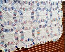 vintage quilt double wedding ring 20s feedsack