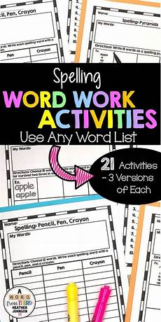 spelling worksheets using your own words 22514 spelling activites for any list spelling words word work activities spelling