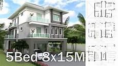 8x15m 3 story house design plan 5 bedrooms home design 3d full plan youtube