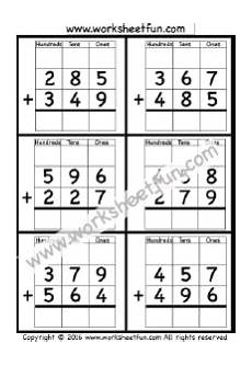 3 digit addition with regrouping carrying 5 worksheets math worksheets subtraction with