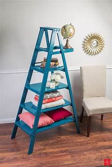 Arrange Things On A Diy Ladder Shelf how to customize an ladder with spray paint