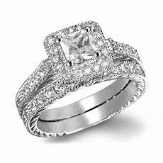 princess cut aaa cz white gold filled ring set wedding band jewelry size 6 10 ebay