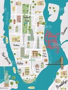 illustrated map of new york city stock illustration