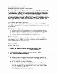 poetry analysis worksheet for the road not taken 25514 the road not taken robert graphic organizers questions poetry