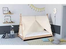 lit cabane 90x190 cm avec tissu apache coloris naturel