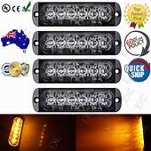 4X Amber Flashing Recovery Strobe LED Orange Grill