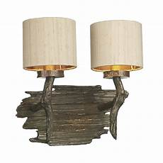 double wall light in driftwood effect bronze with taupe
