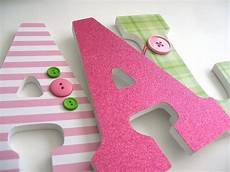 Set Of 3 Decorated 9 Wooden Letters Nursery Name D 233 Cor