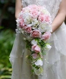 Pink White Vintage Artificial Flowers Waterfall Wedding
