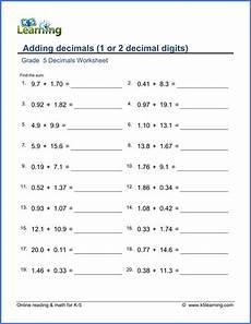 adding and subtracting decimals worksheets grade 5 7376 grade 5 decimals worksheet adding decimals 1 or 2 decimal digits mathematics worksheets