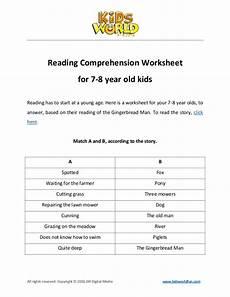 reading comprehension worksheet for 7 8 years old kids