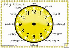 teaching time printable clock 3714 an a4 pdf containing 4 different clock faces with captions in sassoon infant font these clocks