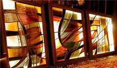 huge art stained glass panels philadelphia pa mid century modern l light vtg ebay