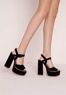 missguided 70 s platform block heel sandals black in black