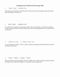 limiting reactant theoretical yield and percent yield 10th higher ed worksheet lesson planet