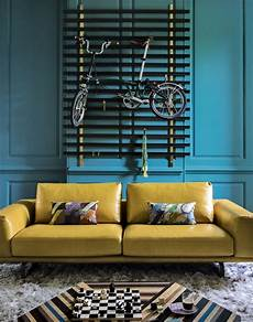 Turquoise And Mustard Living Room modern teal living room with mustard leather sofa
