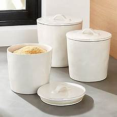 white ceramic kitchen canisters food storage containers glass and plastic crate and barrel