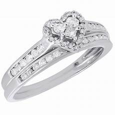 brides wedding rings 10k white gold wedding bridal set princess diamond heart