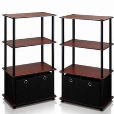 go green 4 tier multipurpose storage rack shelving unit w bins of 2