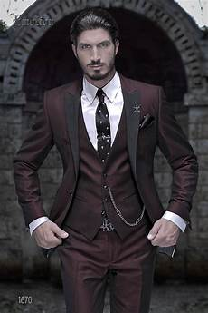 costard homme mariage black and burgundy peak lapel 3 pieces italian tuxedo