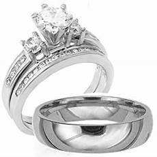 3 pieces mens womens his hers 925 sterling silver