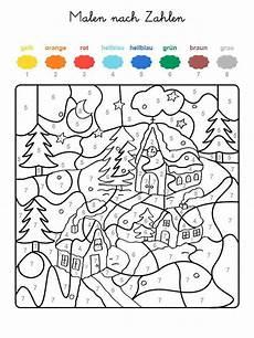 Ausmalbild Weihnachten Mathe Ausmalbild Malen Nach Zahlen Winterzauber Ausmalen