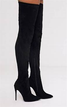 emmi black faux suede thigh high heeled boots