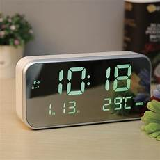 Alarm Clock Mirror Display Digital Temperature by Led Alarm Clock Multifunction Digital Electronic Led