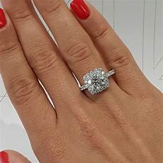 2 carat cushion style halo lab grown diamond engagement ring 14k whi best brilliance