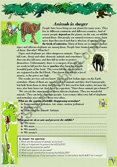 animal reading worksheets 14021 animals in danger reading comprehension worksheet esl worksheet by nurikzhan