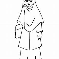 Gambar Wanita Berhijab Kartun Hitam Putih Gambar Status