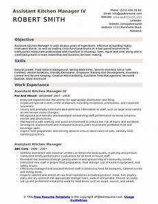 assistant kitchen manager resume sles qwikresume