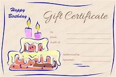 Candles And Cake Birthday Gift Certificate Template