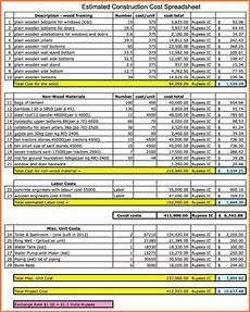 Kosten Hausbau Rechner - 9 construction costing spreadsheet excel