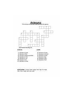 antonyms crossword puzzle education kids crossword
