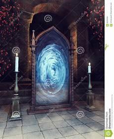 magischer spiegel und kerzen stock abbildung