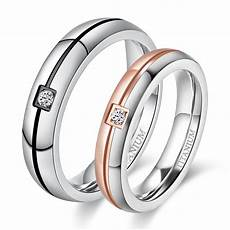 rose gold titanium wedding ring sets with cz for 4mm