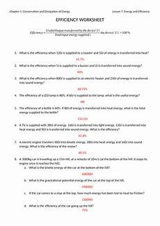 energy and efficiency worksheet with answers by jwansell teaching resources