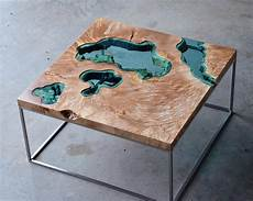 wood tables and wall embedded with glass rivers and