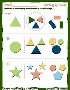 worksheet kindergarten sorting by shape sort objects by shape kindergarten printable