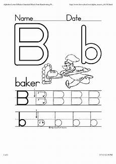 alphabet letter b baker standard block font handwriting practice work