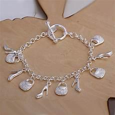 bijoux bracelet argent femme silver plated shoe bag charms bracelets