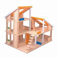 plan toy chalet doll house with furniture plan toys wood chalet dollhouse multicolor plan toys