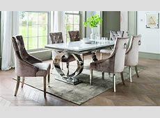 Selene Bone White Marble & Chrome 200cm Dining Table